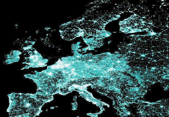 Europe at night 2002 by Nasa