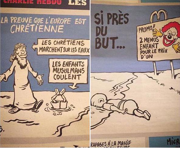 Charlie Hebdo Aylan Kurdi cartoons