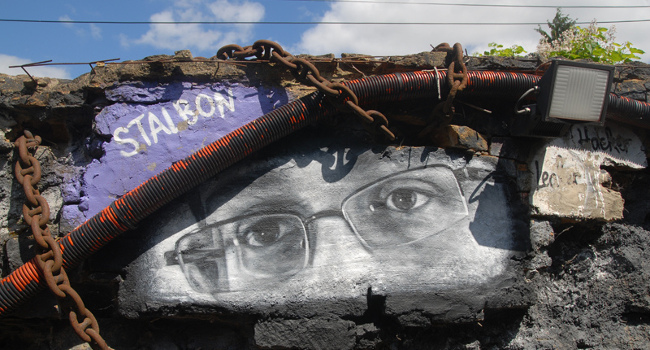 Edward Snowden mural, July 2013 by Thierry Ehrmann