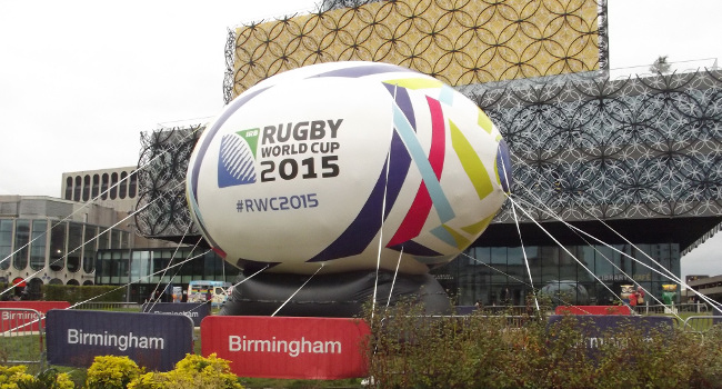 Giant Rugby Ball, Centenary Square Birmingham, September 2015 by Elliott Brown