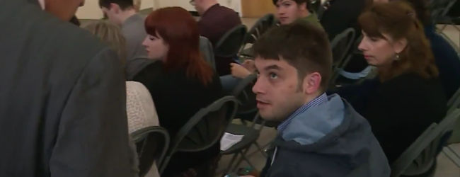 Tory Mike Watkinson at Corbyn rally Nuneaton, September 2015 by Channel 4