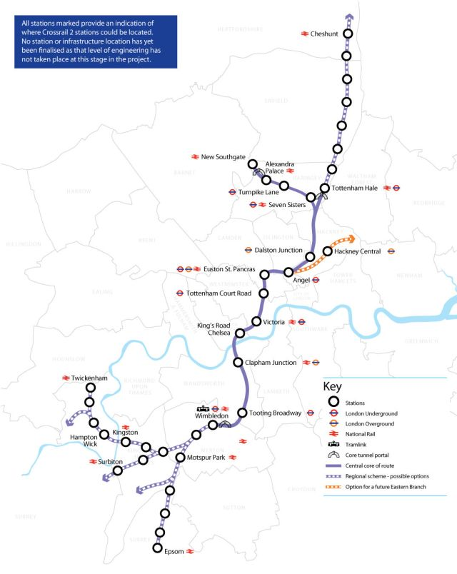 Crossrail 2 Route, via Mayor of London, Network Rail and TfL
