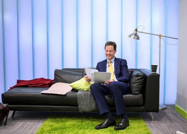 Nick Clegg preparing for Leaders Debate, April 2015 by Liberal Democrats
