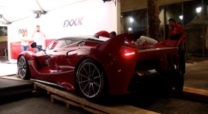 Red Ferrari FXX K Unloading