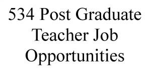 534 Post Graduate Teacher Job Opportunities