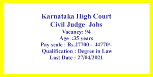 Civil Judge Job opportunities in Karnataka for LLB