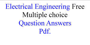 Electrical Engineering Free Multiple choice Question Answers
