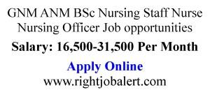 GNM ANM BSc Nursing Staff Nurse Nursing Officer Job opportunities