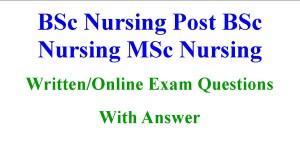 BSc Nursing MSc Nursing Tutor Recruitment Question Answers