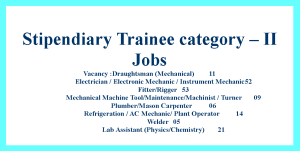 ITI Stipendiary Trainee category – II Jobs