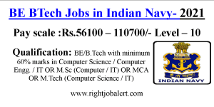 BE BTech Jobs in Indian Navy