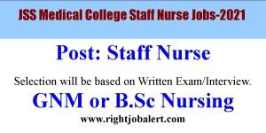 JSS Medical College Staff Nurse job opportunities