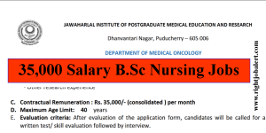 35000 Salary Research Nurse Jobs JIPMER