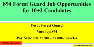 894 Forest Guard Job Opportunities for 10+2 Candidates