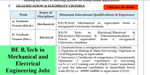 BE B.Tech in Mechanical and Electrical Engineering Jobs