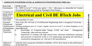 BE BTech in Electrical and Civil Engineering Job Vacancies- 44900 Pay Scale