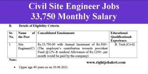 Civil Site Engineer Jobs- 33750 Monthly Salary