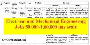 Electrical and Mechanical Engineering Jobs 50000-160000 pay scale