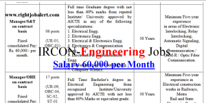 IRCON- 60000 Salary Electrical, Electronics, EE, EC, EI, IC and Computer Science Engineering Jobs