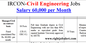 IRCON Civil Engineering Degree with 60% Marks Jobs
