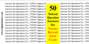 50 Solved Question Answers for Nurses Recruitment Exam