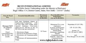 60000 Salary BE B Tech Jobs in IRCON