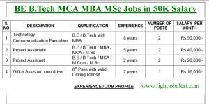 BE B Tech MCA MBA MSc Jobs in 50K Salary