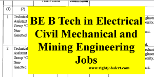 BE B Tech in Electrical Civil Mechanical and Mining Engineering Jobs