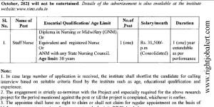Regional Institute of Medical Sciences Staff Nurse Vacancies