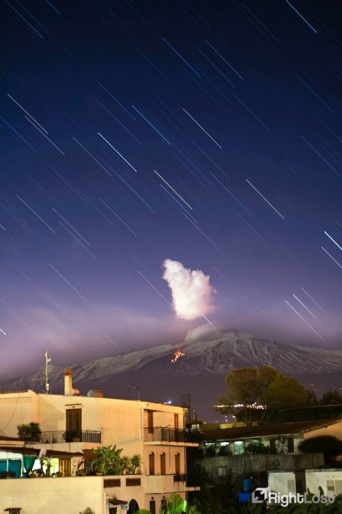 Mount Etna at Night