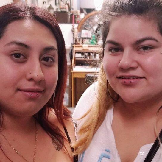 horizontal lip piercing girls