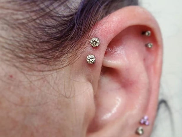 two forward helix piercing