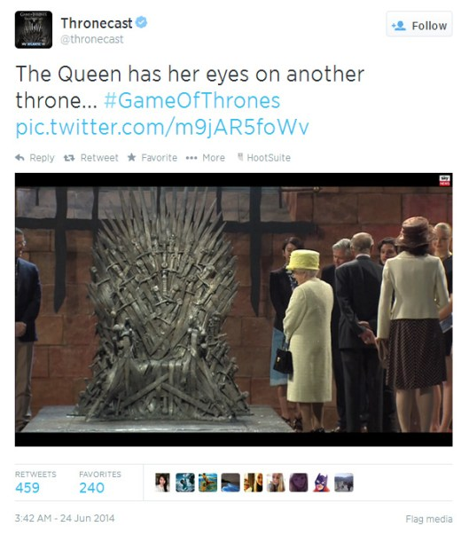 The Queen's visit to the Game of Thrones set