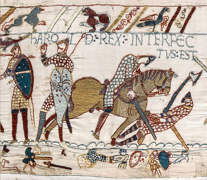 Harold's death depicted in the Bayeux Tapestry, reflecting the tradition that Harold was killed by an arrow in the eye.