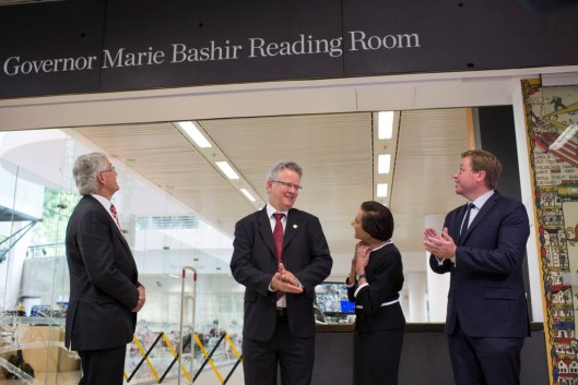 Dame Marie Bashir with Dr Alex Byrne (left), and Deputy Premier Troy Grant (right).