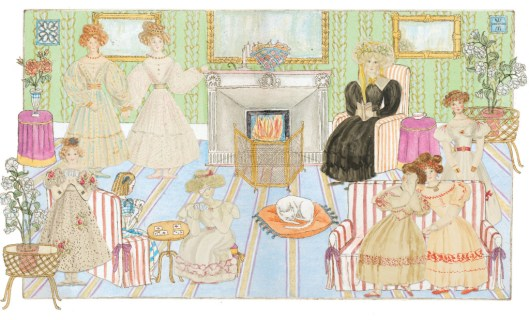 Illustration from 'The Adventures of Alice Laselles' of Mrs Duncombe's school for girls. Source: Royal Collection Trust / © Her Majesty Queen Elizabeth II 2015