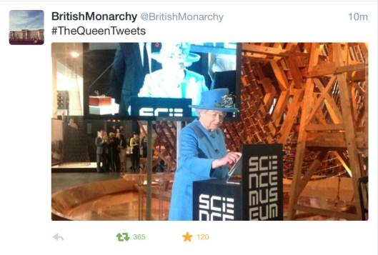 Queen Elizabeth II sends her first tweet at the Science Museum in London.