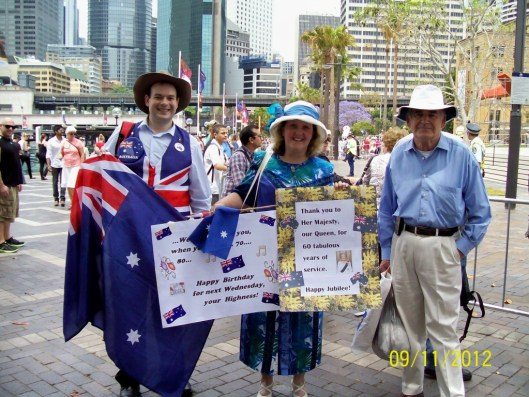 Australian Monarchist League Members came prepared to welcome Prince Charles to Sydney.