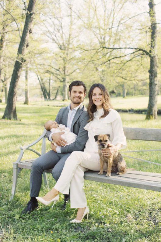 Prince Carl Philip, Princess Sofia, Prince Alexander and their dog, Siri.