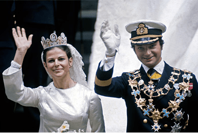 King Carl XVI Gustaf and Silvia Sommerlath marry on 19 June 1976 in Stockholm.