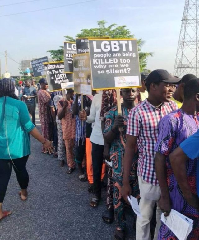 """""""LGBTI people are being killed too. Why are we so silent?"""" protesters in Lagos ask. (Photo courtesy of Bisi Alimi via Facebook)"""