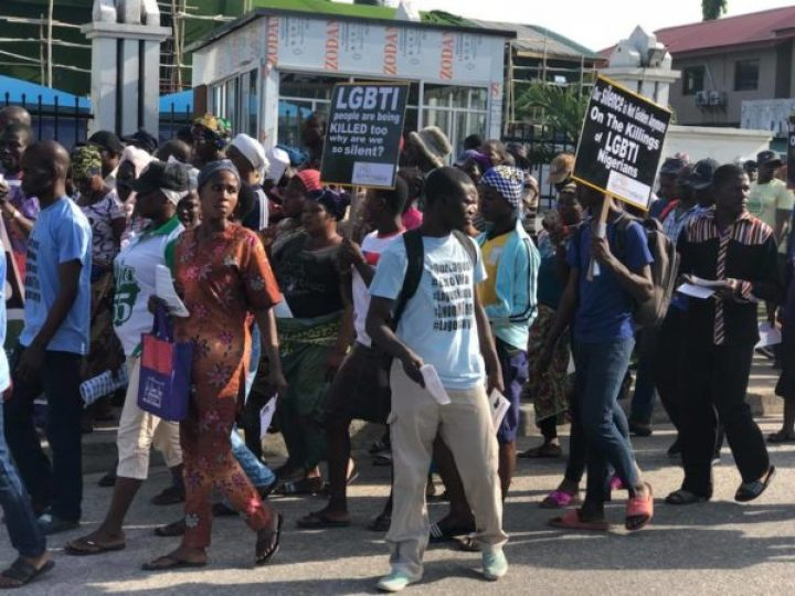 Protesters in Lagos seek an end to murders of LGBTI Nigerians. (Photo courtesy of Bisi Alimi via Facebook)