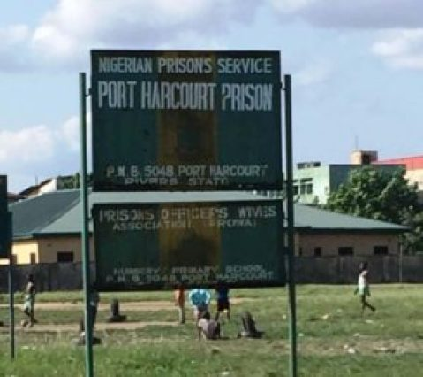 Sign for Port Harcourt Prison, where Chinda is being held. (Photo by Mike Daemon)