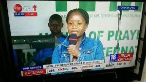 Val Kalende during televised Prayer Crusade. (Photo courtesy of Jinja Crusade)