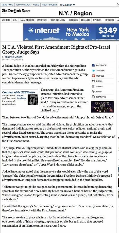 MTA_Violated_First_Amendment_Rights_of_Pro_Israel_Group