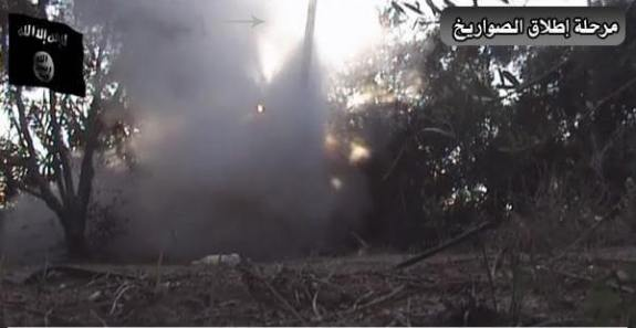 Scene from SCM video showing a rocket being fired at Israel