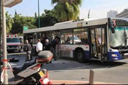 The bus in Tel Aviv after the explosion Twenty-seven people were wounded in the terrorist attack three of them seriously