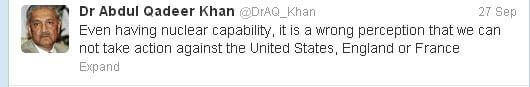 Dr Khan Threatens the United States