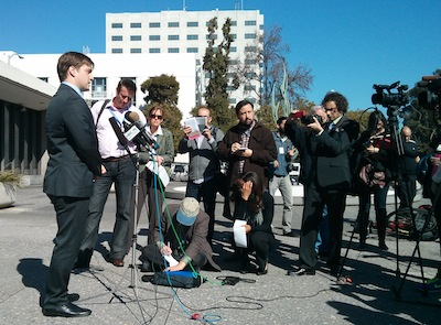 EFFs Trevor Timm speaks to reporters outside the hearing
