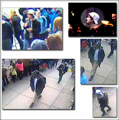 Photos of Suspect 1 in the black hat  and Suspect 2 in the white hat